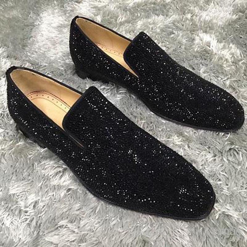 2020 Zarif Tasarımcı Düğün Elbise Ayakkabı Dikenler Kırmızı Alt loafer'lar Ayakkabı Erkek Parlak Mocassin İş Casual Oxford Ayakkabı