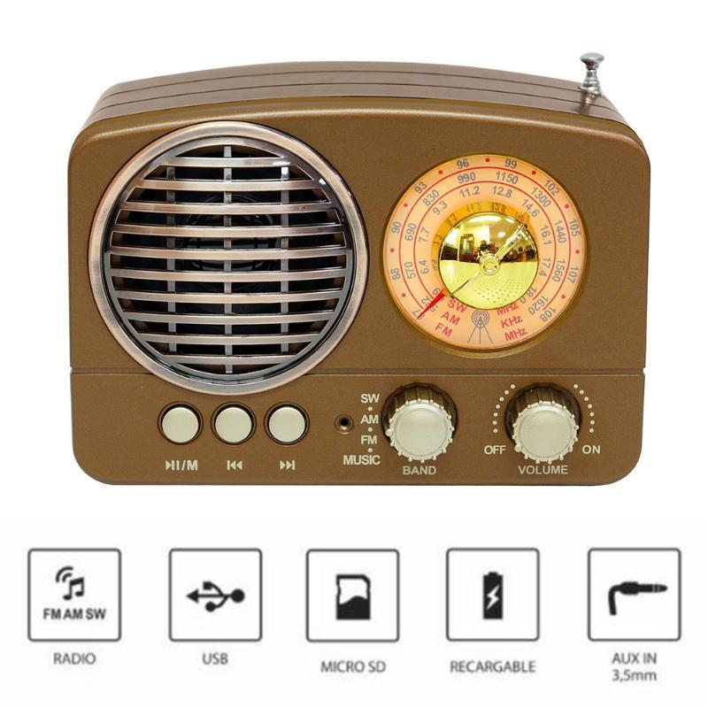 M-161BT Retro ABS Radio AM FM multifonction SW Audio Mini carte portable slot TF Bluetooth Haut-parleur USB rechargeable Accueil