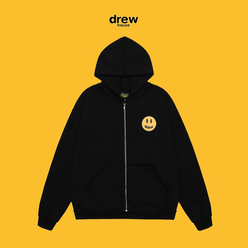 Drewhouse zip jacket drew caidigan drew face yellow smile face hoody man winter autumn woman men coat oversize hiphop streetwear sweatshirts