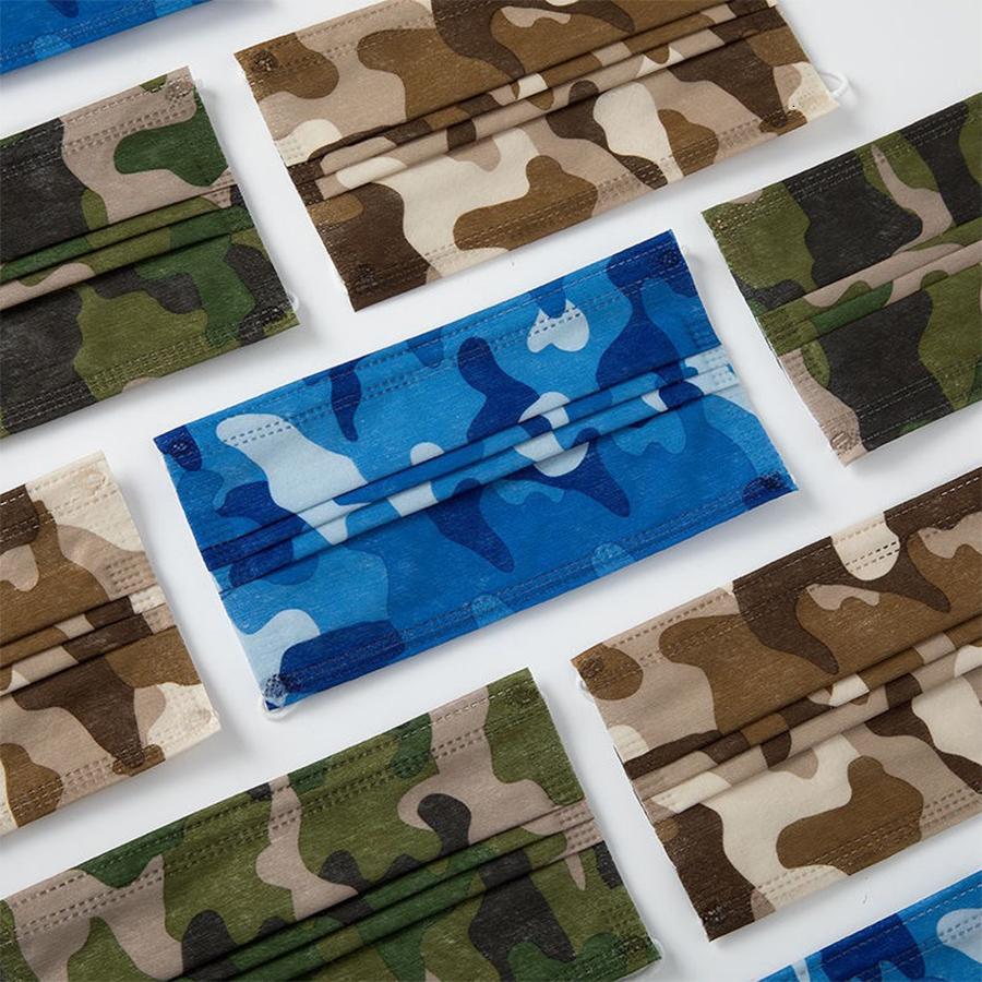 Adulto Camuflagem Imprimir face Camo Máscara Mascarilla Dustproof respirável descartável com três camadas Militar shiled Tampa DHL livre