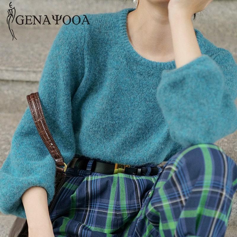 Genayooa Damen-Pullover-Strickjacke-Frauen-Winter-beiläufige lange Hülse O Ansatz weiche Strickpullover Women Solide lose Pullover Korean Chic 200919