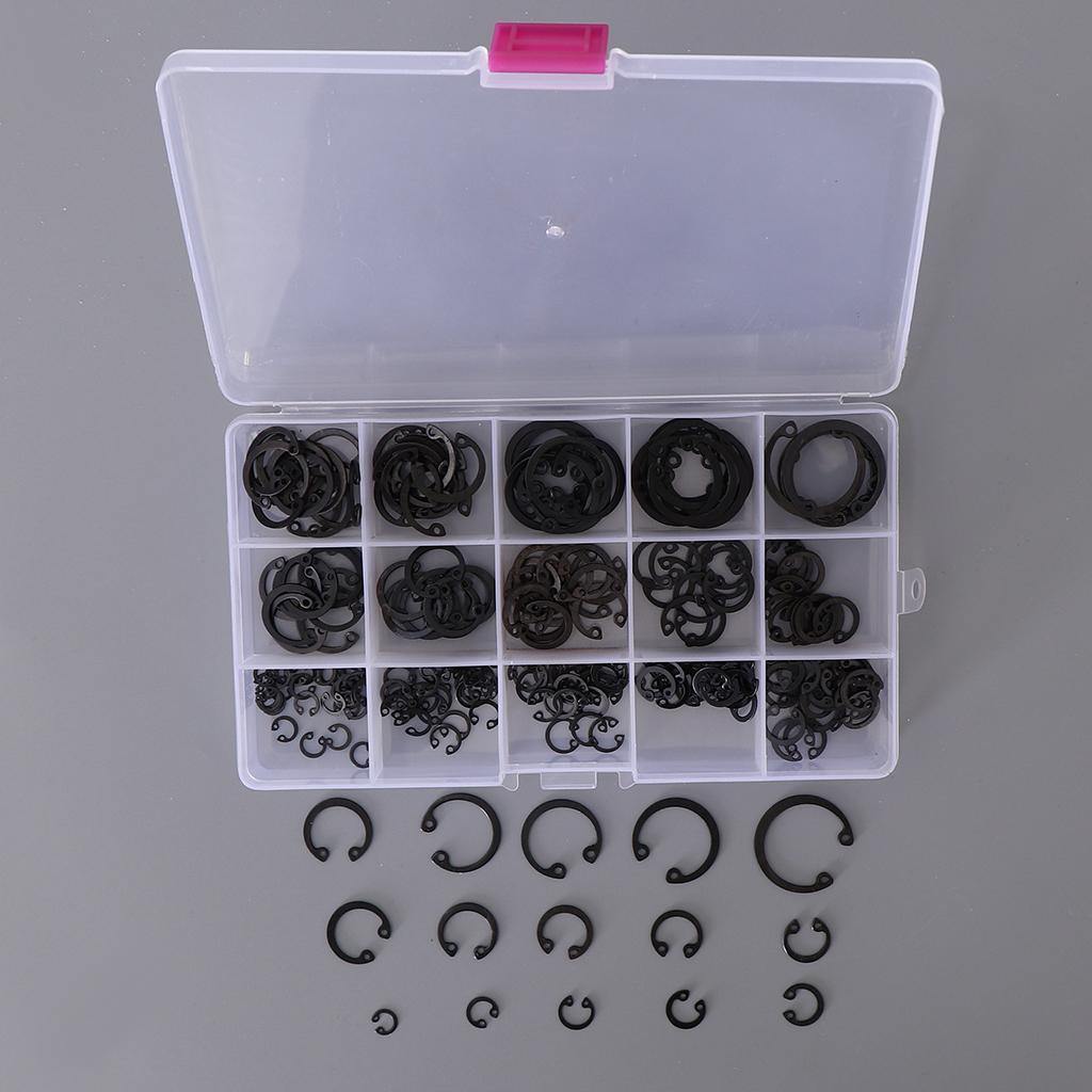 175x 15 tipi di acciaio anello di sicurezza esterno anello Anello elastico Kit Assortimento