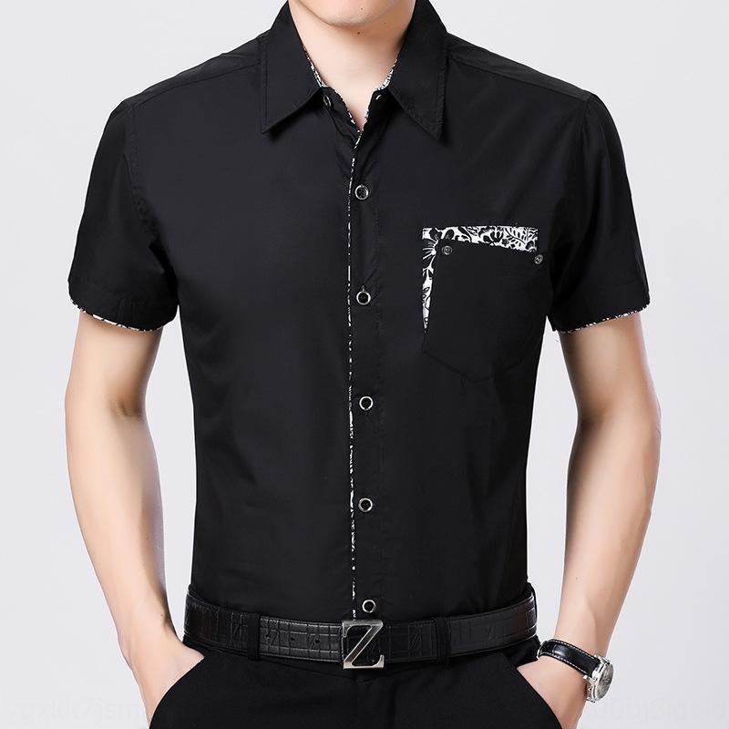 Été nouveau jeune et chemise d'âge moyen à manches courtes coutures floral coréenne mince hommes de grande taille mince Sugeh