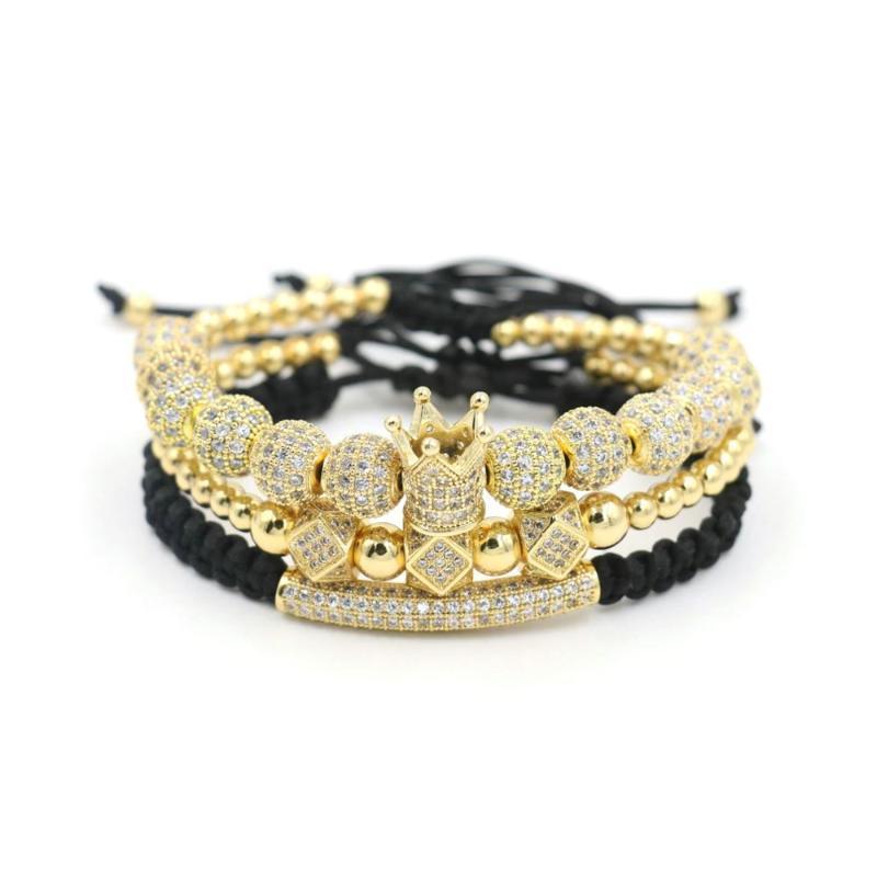 3pcs gioielli di lusso / Set Bracciale Hip Hop Oro cubico della micro pavimenta Coppie CZ di fascino della sfera bracciali per le donne Pulseira Bileklik
