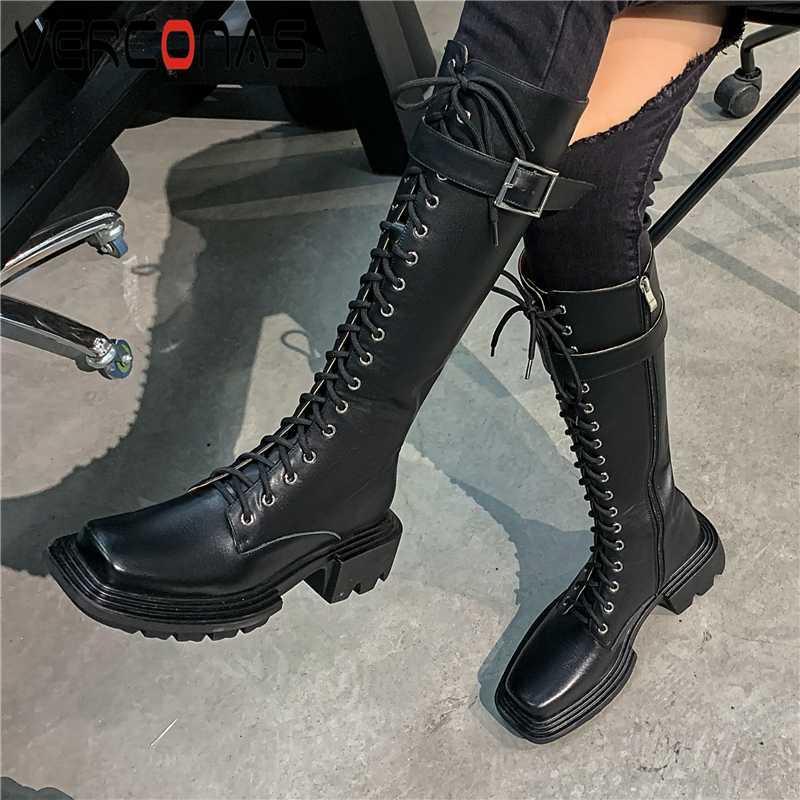 VERCONAS Autunm Kış Çapraz Bağlı Kadın Diz-Yüksek Boots Moda Gerçek Deri Toka Ayakkabı Kadın Yan Fermuar Platformlar Çizme