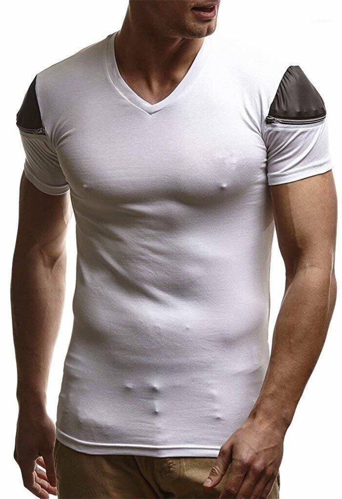 Щитовые Спорт тройники Tennagers Новый Стиль Solid Color Tops Mens Zipper V шеи Тонкий Tshirt лето Дизайнер Скинни