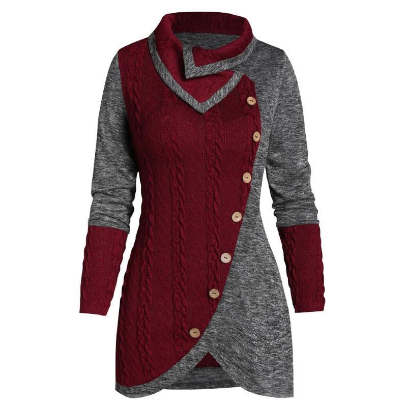 Cálido partido redondo cuello del invierno de las mujeres suéter de punto con estilo irregular diario Pullover viajes Compras botón casual de manga larga