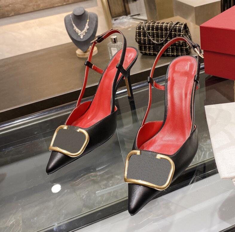 أحذية المصممين نسائية صنادل الكعوب العالية نساء العلامة التجارية زلة على أشار تو الصنادل مثير Slingback مضخات