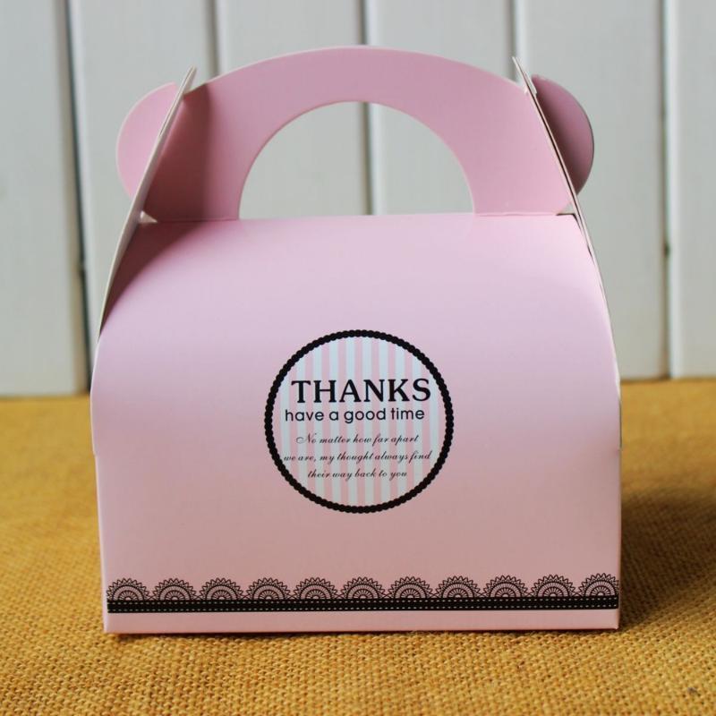 Подарочная упаковка розовый спасибо ручной коробку, коробки печенья, бисквитные коробки 30 шт. / Лот