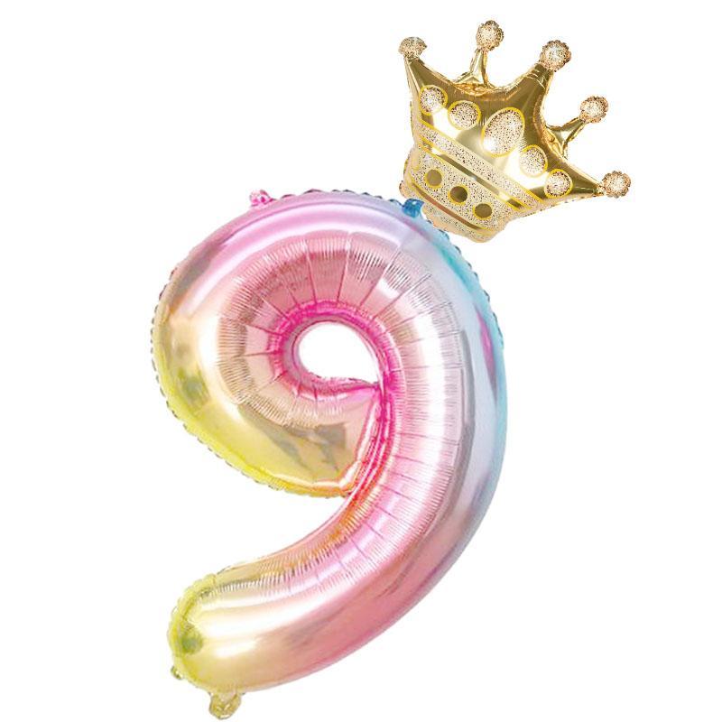 2pcs / set 32 inç Gökkuşağı Sayı Folyo Balonlar Balon Doğum Parti Süsleri Çocuk Rose Gold Pembe 0-9 Haneli Topu In Stock