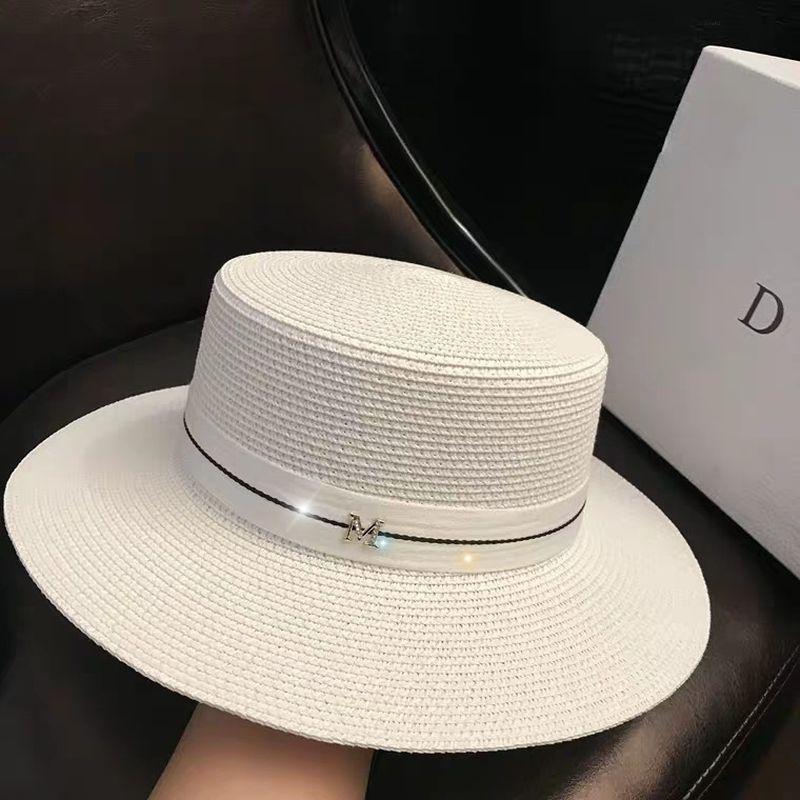 럭셔리 - 여성의 태양 모자 여성 여름 M 편지 밀짚 모자 여름 바이저 모자 숙녀 태양 해변 모자