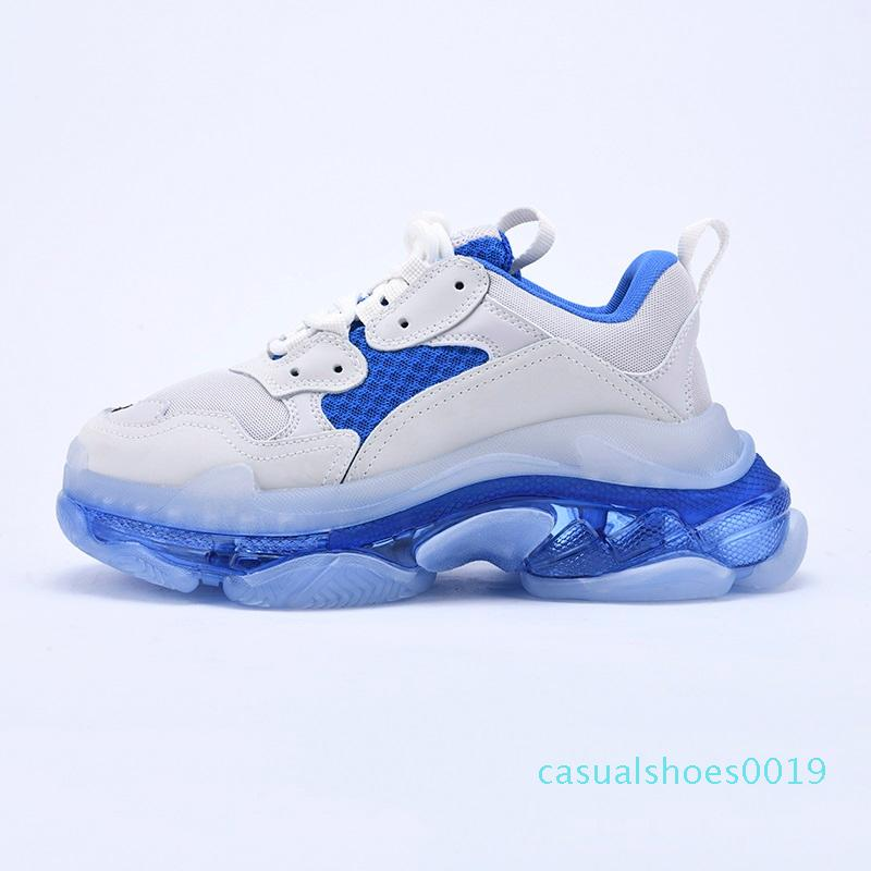 2020 Платформа Тройной S Clear Bubble Midsole Повседневная обувь Многоцветный комбинированные ботинки женщин людей способа тапки верхнего качества Размер 36-45 C19
