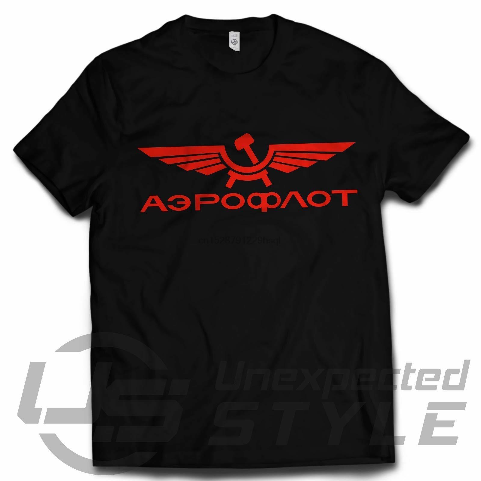 AEROFLOT Rétro T-shirt Russian Airlines URSS Vintage soviétique cool CCCP communistes 100% coton de mode T-shirts top départ