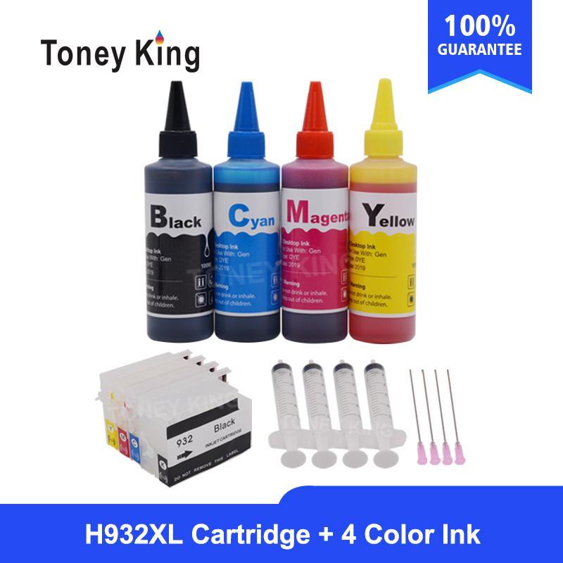 Toney König 1Set nachfüllbare Tintenpatrone für 932 932 933 + 1set 400ml Dye Tinte Anzug für Officejet 7110 7610 6600 6700