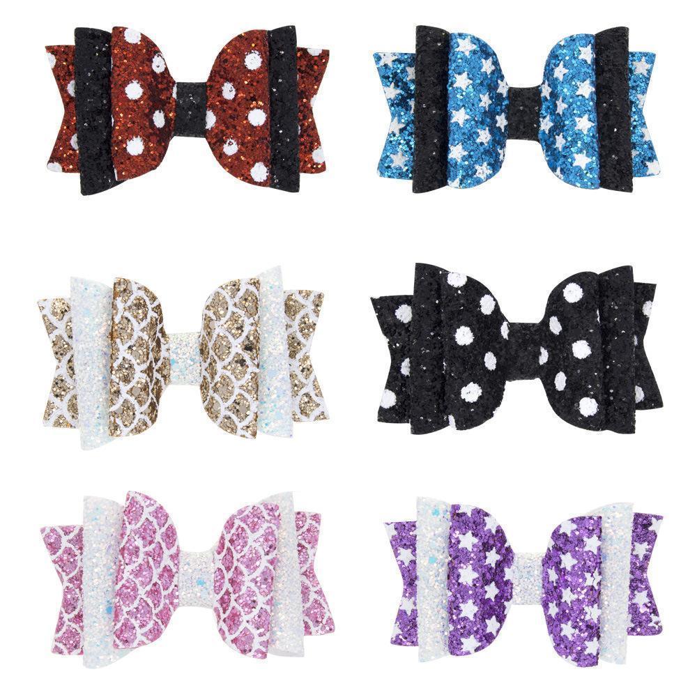 Girls Glitter Bows Clip Unicorn Hairpins Pu Printed Heart Star Sport Shape Sweet Bow Cartoon Kids Hair Clips Hairgrip Hc120