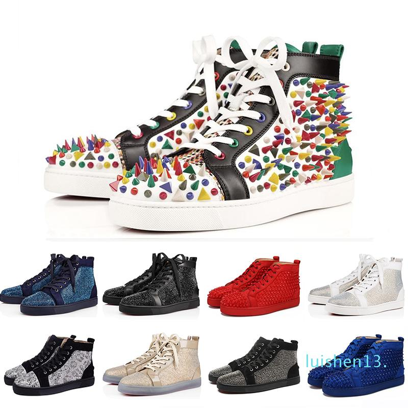 36-47 Luxo ACE Designer Red Bottoms Studded Spikes Flats Shoes das mulheres dos homens da forma alta corte dos amantes Multicolor partido calçados casuais L13