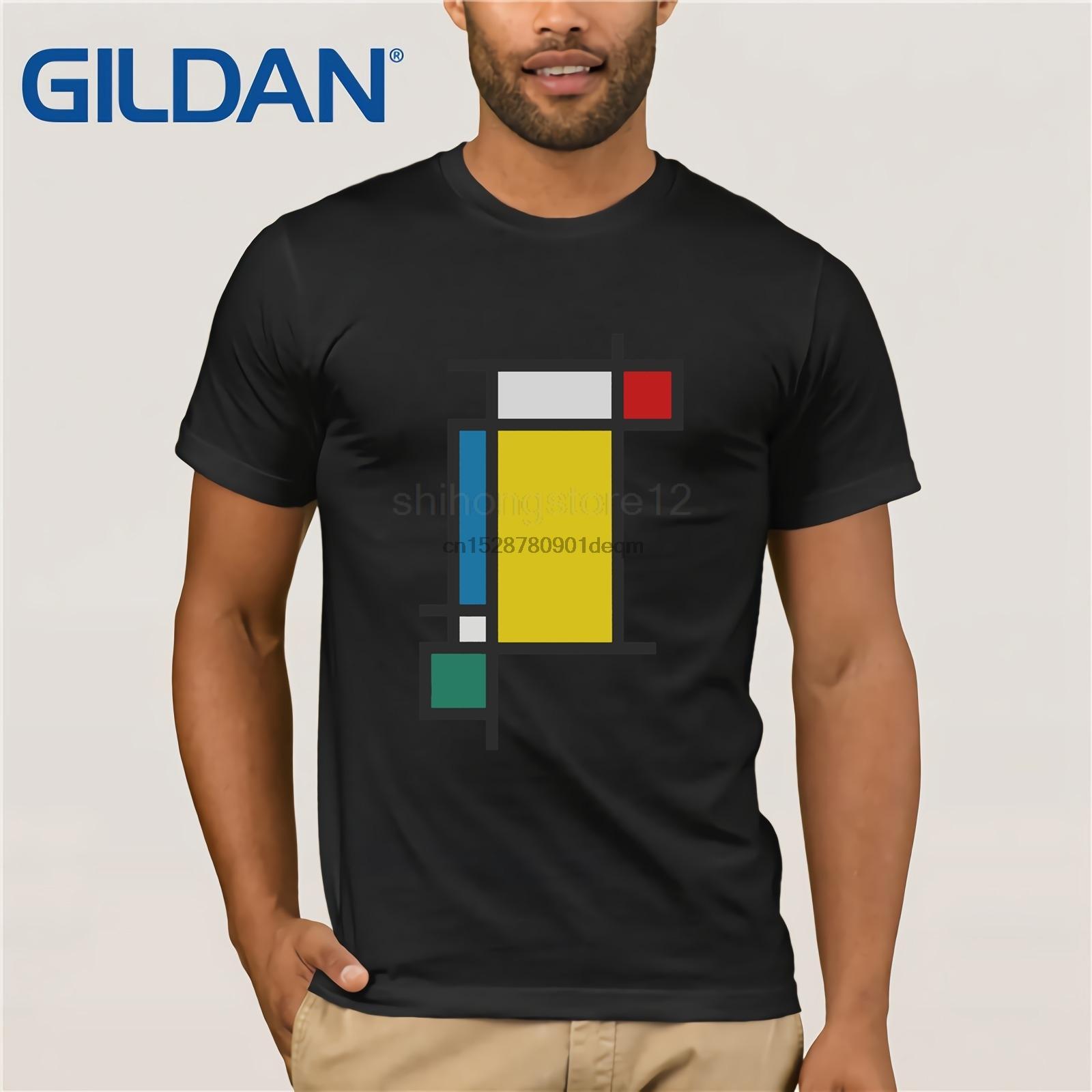 camiseta 2020 hombres de moda camiseta Estética vertical (Homenaje a Mondrian)