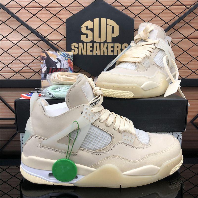 2020 Новый Top Cream Sail Black Cat White Cement Мужчины Женщины Jumpman 4 4s Баскетбол обувь Cactus Jack Мужские Кроссовки Спортивная обувь Size36-46