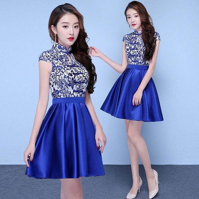 Урожай китайский стиль Мини Cheongsam Свадебное платье Sexy Summer Тонкий платье брак Qipao партии вечернее платье Платье S-XXL vEEo #