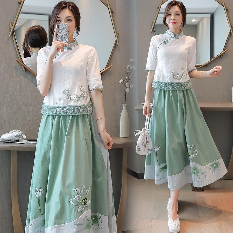 waAkN 2dErt 2020 Verão estilo étnico popular nacional dres de duas peças vestido de terno meninas melhorou cheongsam bordado algodão e linho artisti