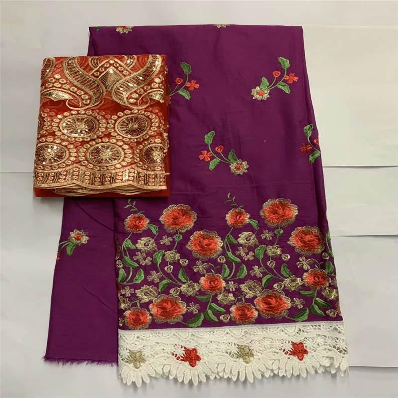 Fashion design high quality embroidery printed cotton african lace fabric for lady dress textile material 7 yards. L9995
