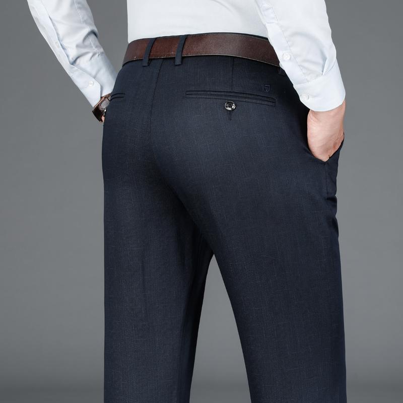 Klassische Jacquard bequeme modale fit dick beiläufige Hosen 2020 Herbst Winter Markenkleidung Geschäft Gentleman Herrenhosen