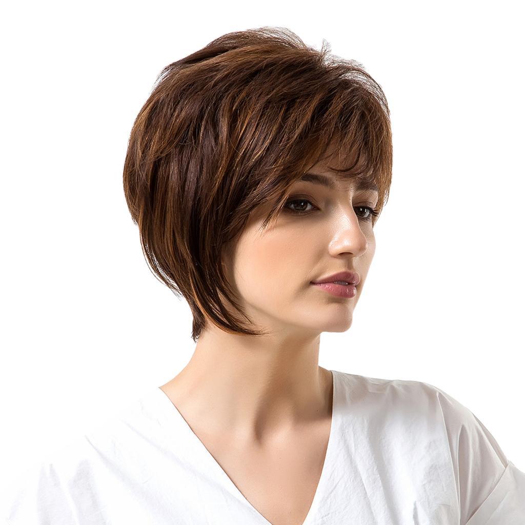 Mulheres curto perucas de cabelo humano Marron Cor Fluffy Layered Hetero completa Perucas Calor OK
