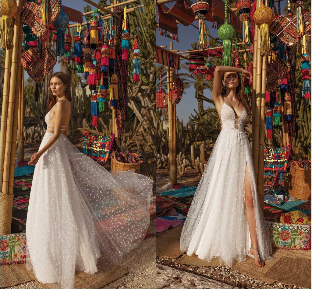 Asaf Dadush 2021 Split Wedding Dresses V Neck Beaded Boho Bohemian Beads Wedding Dress Robes De Mariée