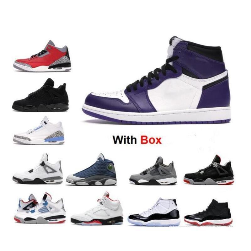 2020 1s Cour Violet Blanc Chaussures de basket-ball Black Cat 4 25e anniversaire 11 Concord Space Jam Low Blanc Bred Sneaker