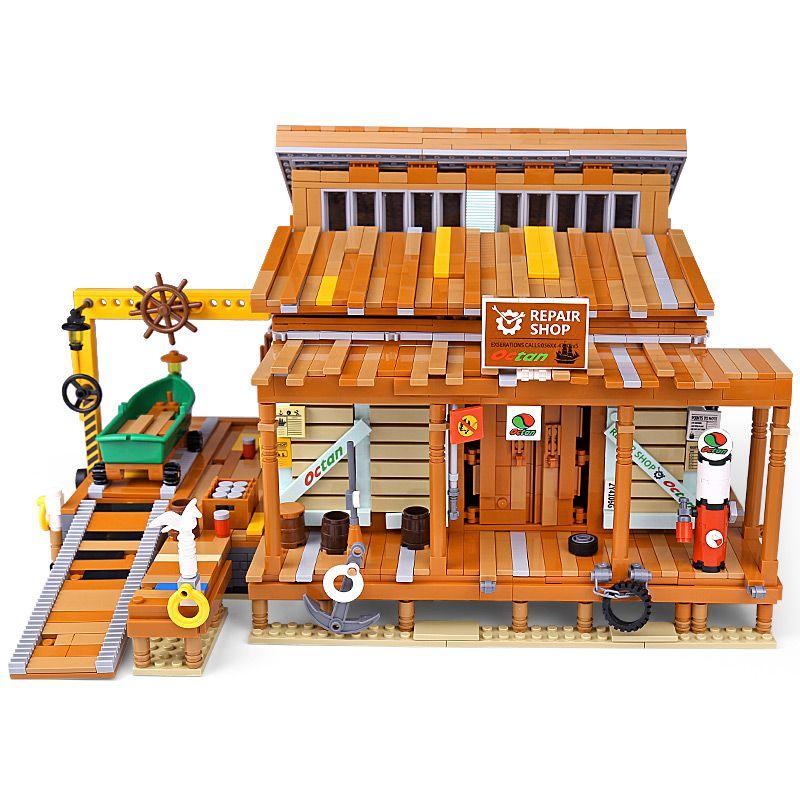 En stock 12004 MOC Streetview Bloques de construcción El astillero 30106 Old Finishing Store Modelo Montaje Lick Toys Kid Navidad Regalo