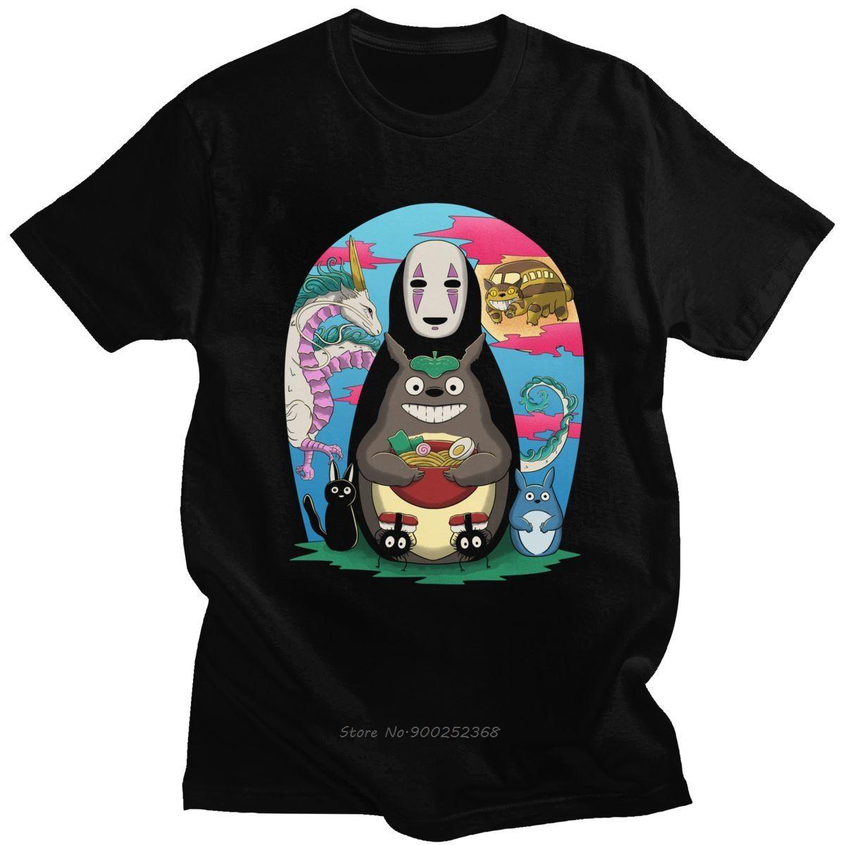 Classic Il mio vicino Totoro maglietta Uomini Maniche corte Miyazaki Hayao Top giapponese Animazione maglietta del cotone Tee Shirt Harajuku