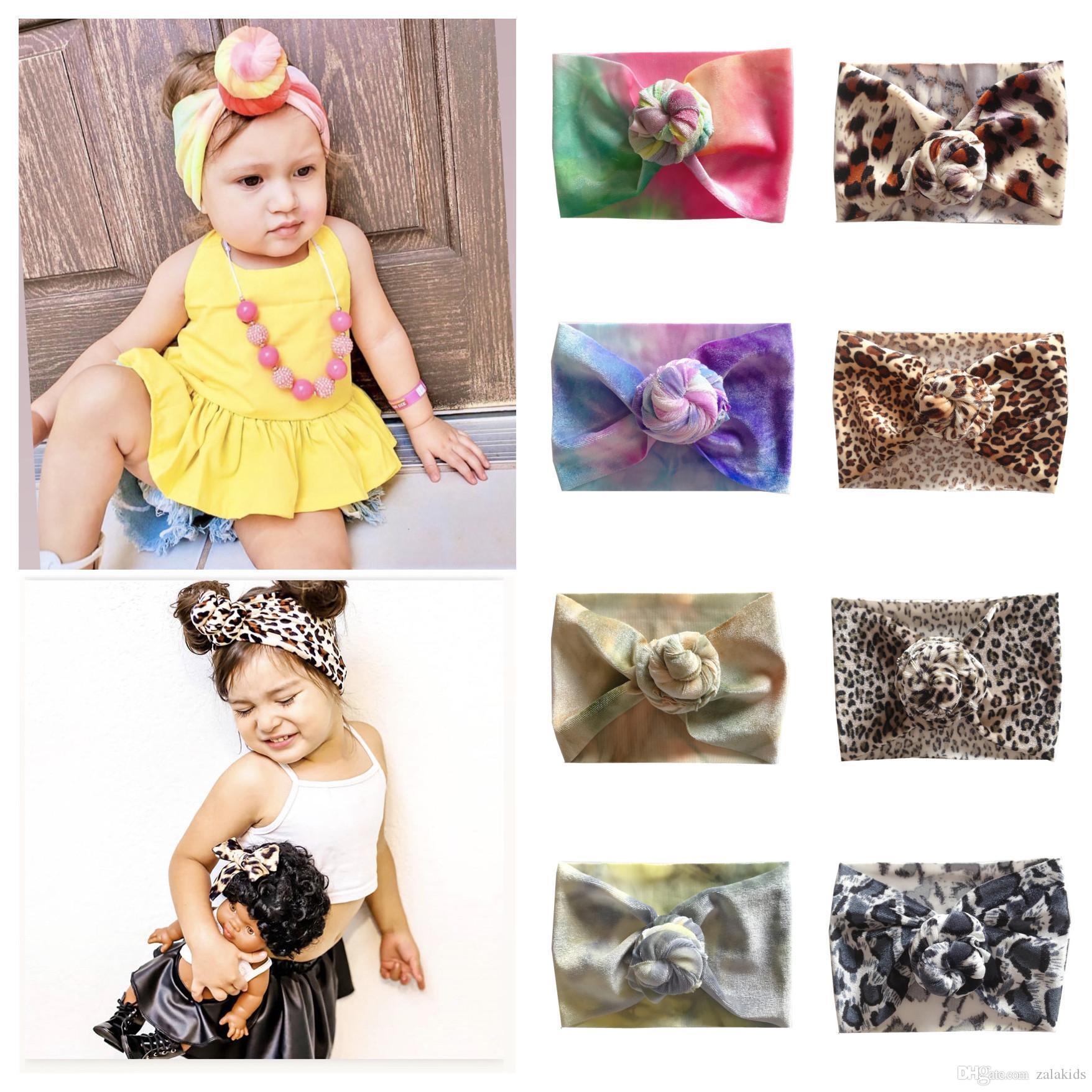 Yeni Bebek kız Knot Topu Bantlar Çocuk Batik Leopar saç bandı Çocuk Şapkalar Butik saç aksesuarları Türban