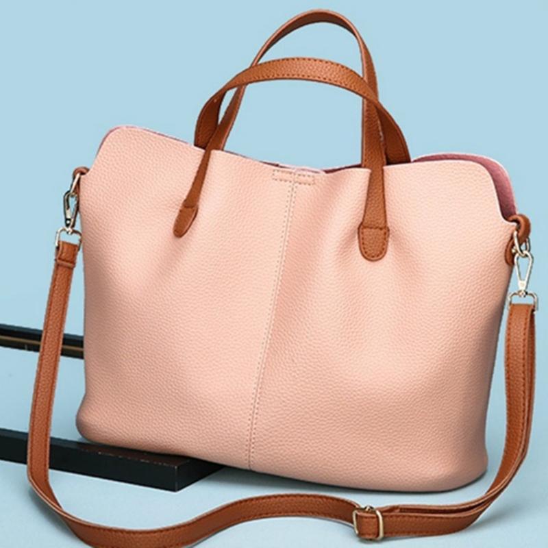 Женская сумка плеча большой емкость Pu кожа Двухсекционной мод Bucket Bag New Leisure Офис Корзина Женщина