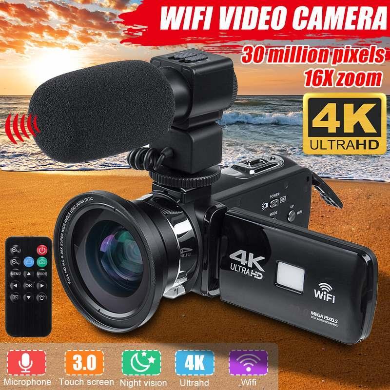 Profesional 4K WIFI cámara de vídeo HD Visión nocturna de la cámara 3 pulgadas LCD de pantalla táctil 16X cámara digital con zoom con el micrófono de la lente