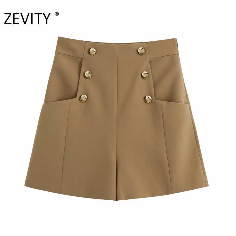 Zevity kadın bağbozumu kruvaze dekorasyon ince şort etekler bayanlar yan fermuar şık şort pantalone cortos P933 cebe