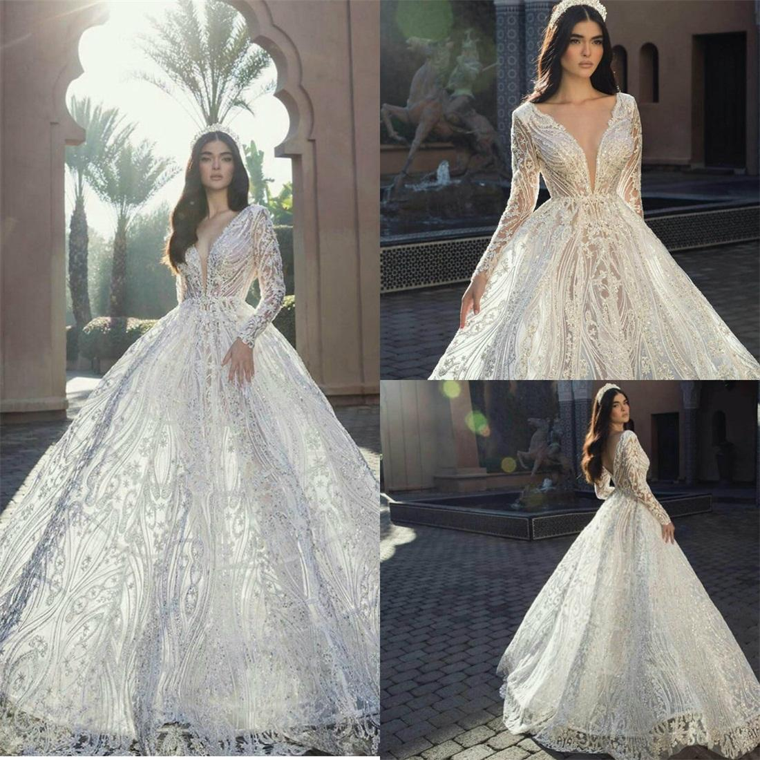 Elie Saab 2021 Country Wedding Dresses Long Sleeve V Neck Lace Appliqued Beads Beach Bridal Gowns Robe de Mariee