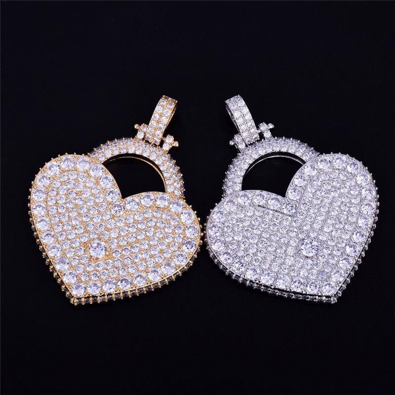 2020 Nouveau Cubic Zirconia Heart Lock Pendentif Collier Fashion Bling Glafe Out Charm Collier Collier Hip Hop Bijoux pour hommes Femmes