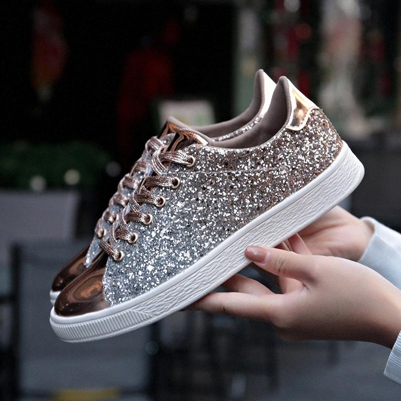 Summer Shiny Mirror Shoes Women Breathable Outdoor Casual Women Shoes Low Trainers Casual Sneakers Fashion Joker Zapatos GPfw#
