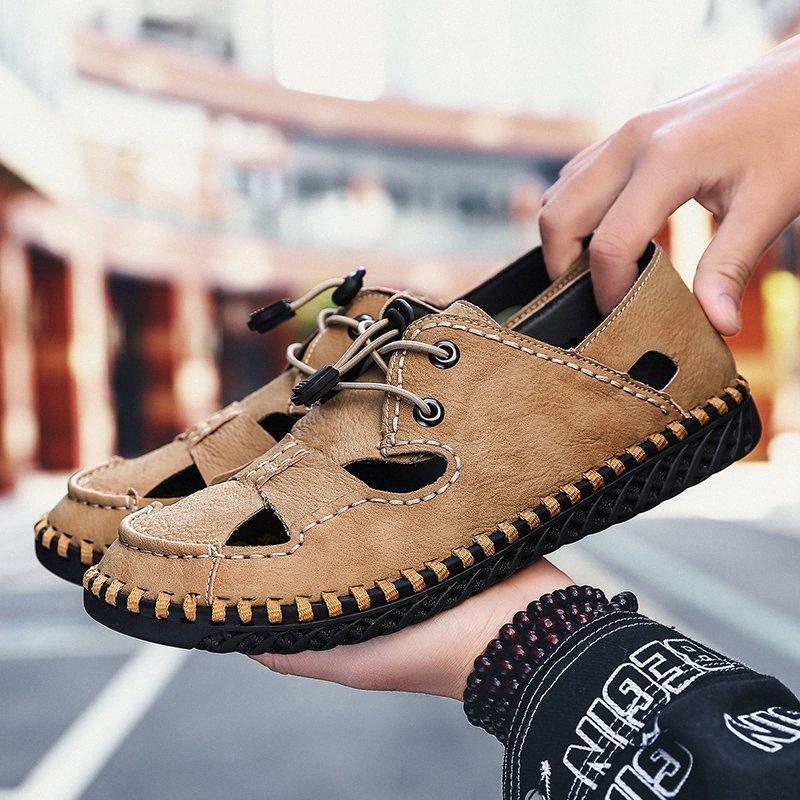 OLOMM été Hommes Sandales Lumière Respirant Chaussures de plage originale Zapatos De Hombre adulte de haute qualité pour hommes Souliers simple Chaussures plates Wedge HSiX n