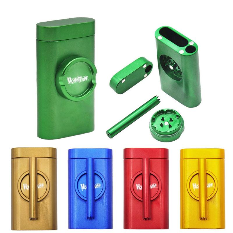 Honeypuff Dugout Kit Pinch Hitter Smoking 3 in 1 Grinder Pipe Metal Aluminum Case Box with Cotainer for Tobacco Dry Herb DHL