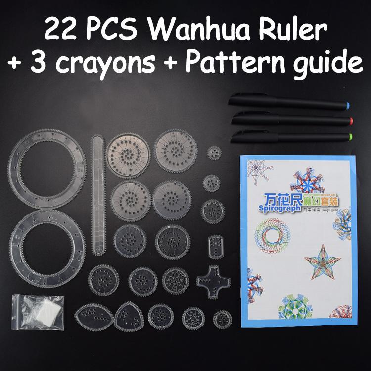 22 PCS Spirograph Desenho Set Educação Brinquedos para Crianças Ferramentas de bloqueio Engrenagens Rodas Desenho Kids Art Pintura criativa aprendizagem brinquedos