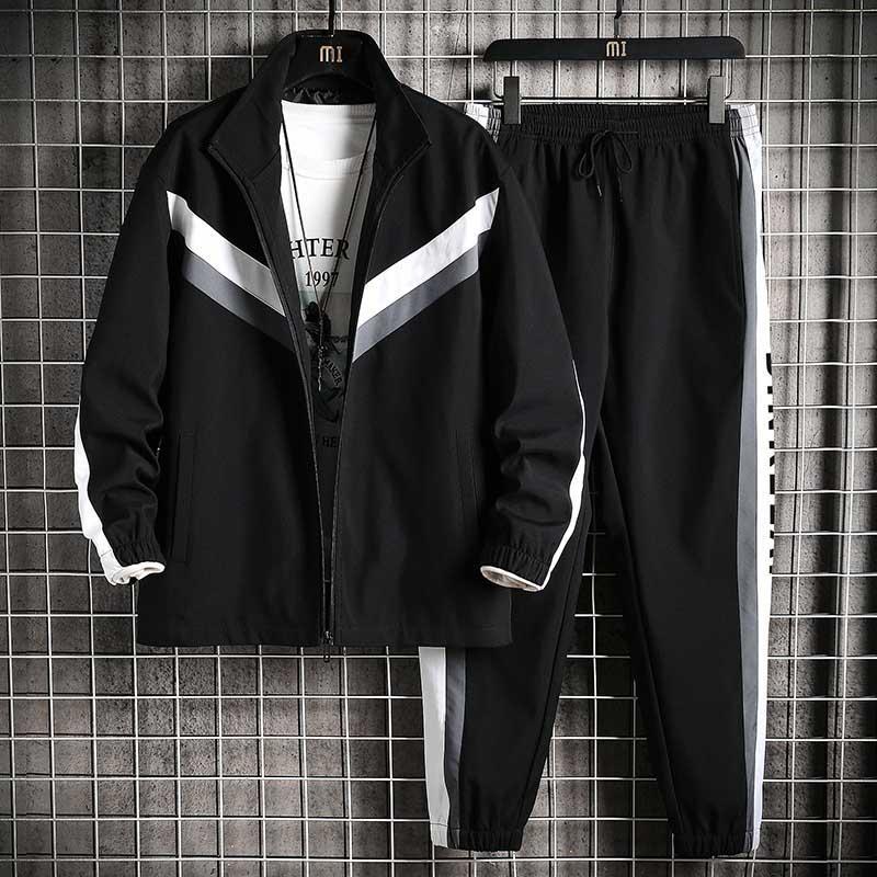 Hommes Survêtement Automne Mode Hommes en plein air Deux actifs Costumes Piece Casual Top Qualité Costume Hommes lambrissé Sport Taille asiatique M-4XL