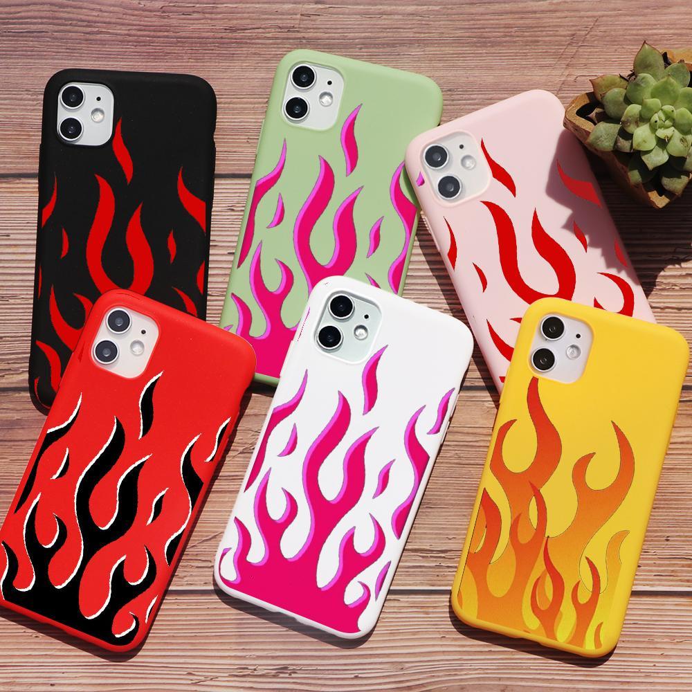 Caso del iPhone PUNQZY personalidad artística Llama TPU suave del teléfono durante 12 MAX Pro XR X 8 7 Plus 11 Patrón Negro Fuego contraportada de Shell