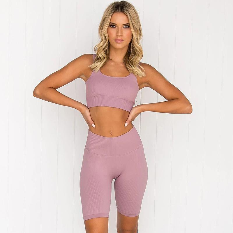 Quick-Dry Running Бесшовная Ultra-Stretch Спорт Brassiere Фитнес шорты костюм йога одежда женщин