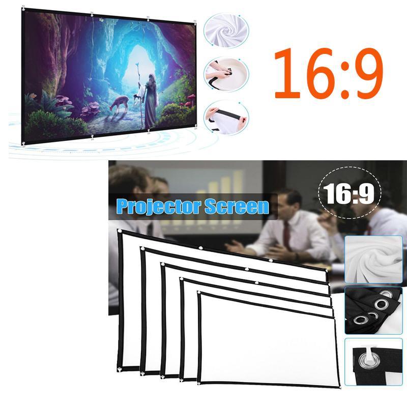 Pantalla de proyección portátil, 60/72/84/100/120/150 pulgadas 16: 9, pantalla de poliéster al aire libre para el recorrido de la película de cine en casa Projektor