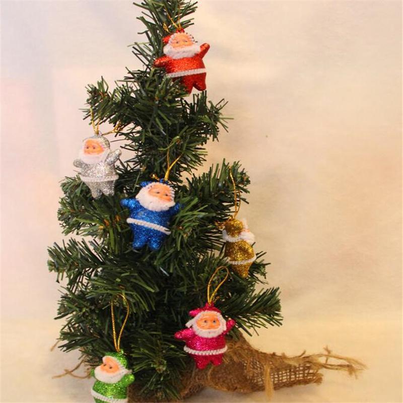 """6Pcs 2020 Новогодние украшения для домашнего украшения рождественской елки Санта-Клауса подвеска цвета 2"""" Золотой Санта-Клаус"""
