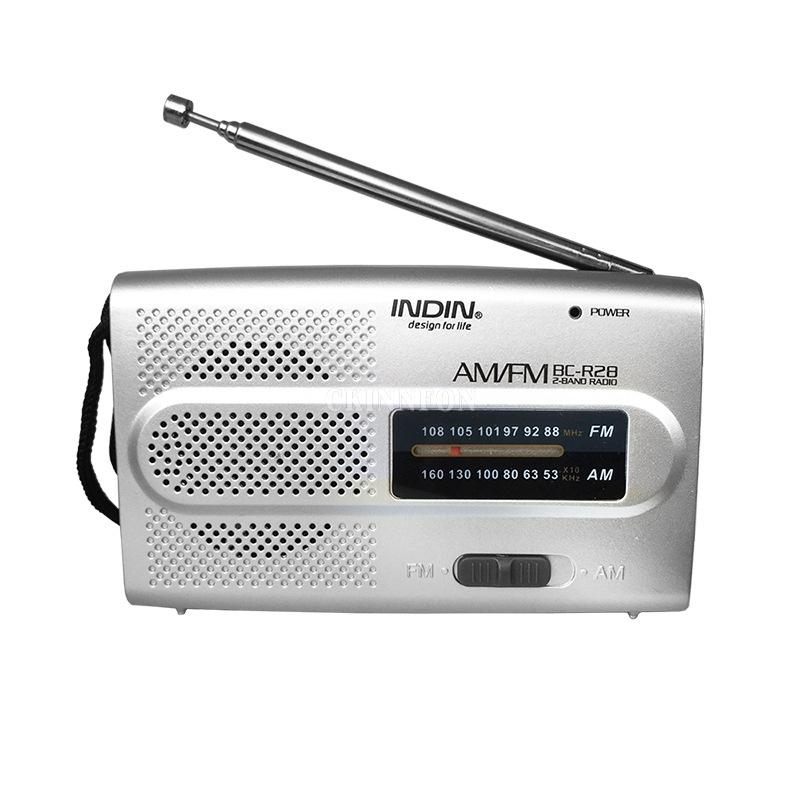 100pcs / Lot mini portátil AM FM Antena telescópica Radio Mono Tipo de puntero Rdio jugador al aire libre del bolsillo Mundial Receptor BC-R28