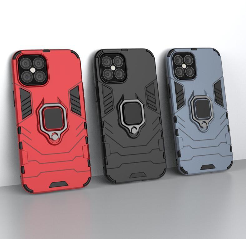 الحالات الهجينة ل iPhone 12 iPhone12 5.4 6.1 6.7 Samsung M01 حامل سيارة المغناطيس شفط صدمات الصدمات PC + TPU + إصبع الدائري الغلاف المدافع