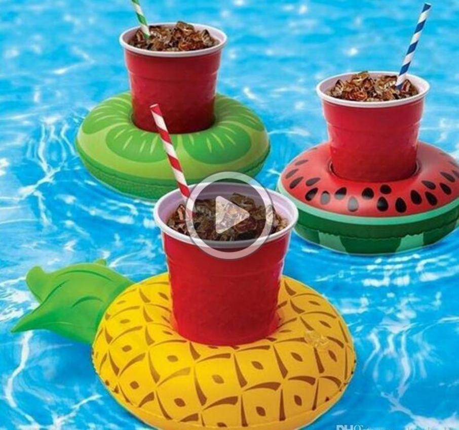HOT PVC Iatable Drink Cup Holder 7 styles Donut Flamingo Watermelon Pine Shaped Floating Mat Floating Pool Toys