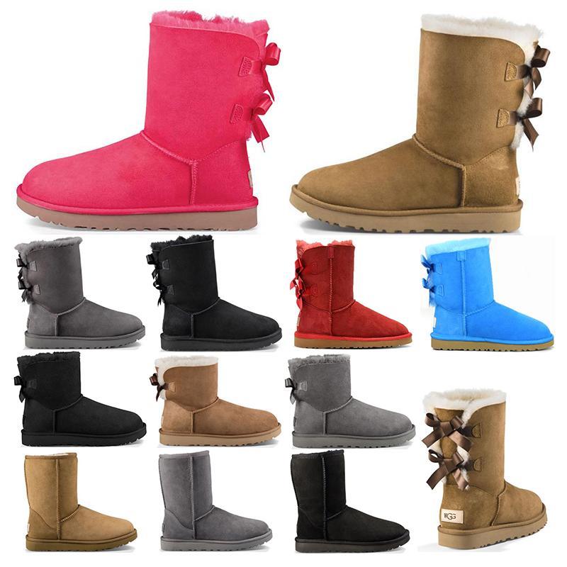 дизайнер австралия женщины классические ботинки снега лодыжки с коротким бантом меховой ботинок для зимних каштановых женщин зимняя обувь размер 36-41